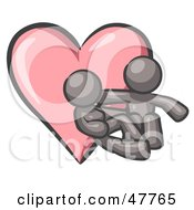 Royalty Free RF Clipart Illustration Of A Gray Design Mascot Couple Embracing In Front Of A Heart by Leo Blanchette
