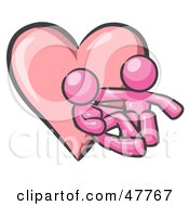 Royalty Free RF Clipart Illustration Of A Pink Design Mascot Couple Embracing In Front Of A Heart by Leo Blanchette