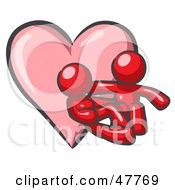 Red Design Mascot Couple Embracing In Front Of A Heart