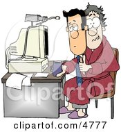 Businessman Working At His Home Office Today Clipart