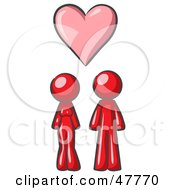 Red Design Mascot Couple Under A Pink Heart