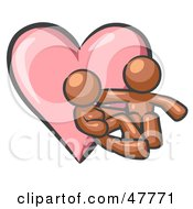 Royalty Free RF Clipart Illustration Of A Brown Design Mascot Couple Embracing In Front Of A Heart