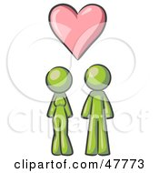 Green Design Mascot Couple Under A Pink Heart