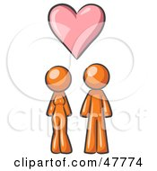 Royalty Free RF Clipart Illustration Of An Orange Design Mascot Couple Under A Pink Heart by Leo Blanchette