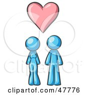 Royalty Free RF Clipart Illustration Of A Blue Design Mascot Couple Under A Pink Heart by Leo Blanchette