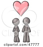 Royalty Free RF Clipart Illustration Of A Gray Design Mascot Couple Under A Pink Heart by Leo Blanchette