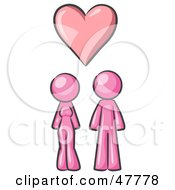 Royalty Free RF Clipart Illustration Of A Pink Design Mascot Couple Under A Pink Heart by Leo Blanchette