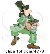 Irish Leprechaun Man Playing An Accordion Clipart