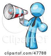Royalty Free RF Clipart Illustration Of A Blue Design Mascot Man Announcing With A Megaphone