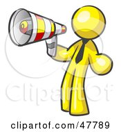 Royalty Free RF Clipart Illustration Of A Yellow Design Mascot Man Announcing With A Megaphone by Leo Blanchette
