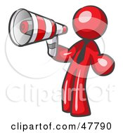 Red Design Mascot Man Announcing With A Megaphone