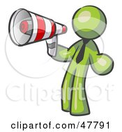 Royalty Free RF Clipart Illustration Of A Green Design Mascot Man Announcing With A Megaphone