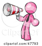 Royalty Free RF Clipart Illustration Of A Pink Design Mascot Man Announcing With A Megaphone by Leo Blanchette