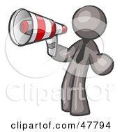 Royalty Free RF Clipart Illustration Of A Gray Design Mascot Man Announcing With A Megaphone by Leo Blanchette