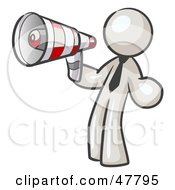 Royalty Free RF Clipart Illustration Of A White Design Mascot Man Announcing With A Megaphone by Leo Blanchette