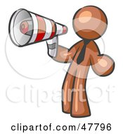 Royalty Free RF Clipart Illustration Of A Brown Design Mascot Man Announcing With A Megaphone by Leo Blanchette