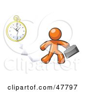 Royalty Free RF Clipart Illustration Of An Orange Design Mascot Man Running Late For Work Over A Crack With A Clock by Leo Blanchette