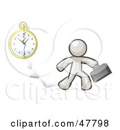 Royalty Free RF Clipart Illustration Of A White Design Mascot Man Running Late For Work Over A Crack With A Clock