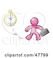 Royalty Free RF Clipart Illustration Of A Pink Design Mascot Man Running Late For Work Over A Crack With A Clock