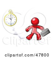 Red Design Mascot Man Running Late For Work Over A Crack With A Clock