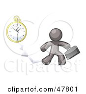 Royalty Free RF Clipart Illustration Of A Gray Design Mascot Man Running Late For Work Over A Crack With A Clock by Leo Blanchette