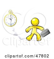 Royalty Free RF Clipart Illustration Of A Yellow Design Mascot Man Running Late For Work Over A Crack With A Clock by Leo Blanchette