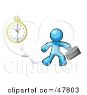 Royalty Free RF Clipart Illustration Of A Blue Design Mascot Man Running Late For Work Over A Crack With A Clock