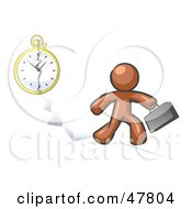 Royalty Free RF Clipart Illustration Of A Brown Design Mascot Man Running Late For Work Over A Crack With A Clock by Leo Blanchette