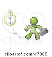 Royalty Free RF Clipart Illustration Of A Green Design Mascot Man Running Late For Work Over A Crack With A Clock