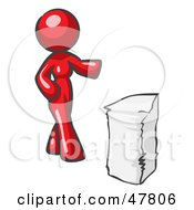 Red Design Mascot Woman With A Stack Of Paperwork