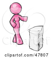 Royalty Free RF Clipart Illustration Of A Pink Design Mascot Woman With A Stack Of Paperwork by Leo Blanchette
