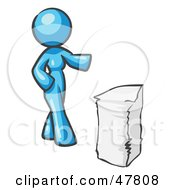 Royalty Free RF Clipart Illustration Of A Blue Design Mascot Woman With A Stack Of Paperwork