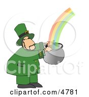Leprechaun Catching A Rainbow In A Pot Clipart