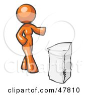 Orange Design Mascot Woman With A Stack Of Paperwork