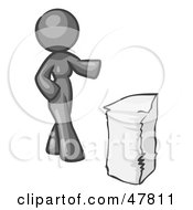 Gray Design Mascot Woman With A Stack Of Paperwork