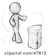 Royalty Free RF Clipart Illustration Of A White Design Mascot Woman With A Stack Of Paperwork