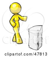 Yellow Design Mascot Woman With A Stack Of Paperwork