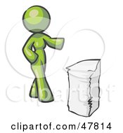 Green Design Mascot Woman With A Stack Of Paperwork