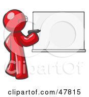 Royalty Free RF Clipart Illustration Of A Red Design Mascot Man Writing On A White Board