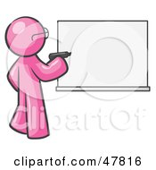 Royalty Free RF Clipart Illustration Of A Pink Design Mascot Man Writing On A White Board by Leo Blanchette