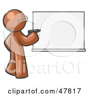 Royalty Free RF Clipart Illustration Of A Brown Design Mascot Man Writing On A White Board by Leo Blanchette