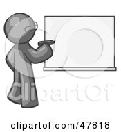Royalty Free RF Clipart Illustration Of A Gray Design Mascot Man Writing On A White Board by Leo Blanchette