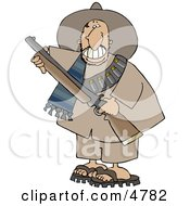 Male Mexican Bandit Carrying A Loaded Shotgun Clipart