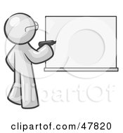 Royalty Free RF Clipart Illustration Of A White Design Mascot Man Writing On A White Board