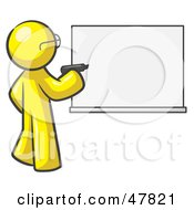 Royalty Free RF Clipart Illustration Of A Yellow Design Mascot Man Writing On A White Board