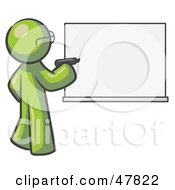 Royalty Free RF Clipart Illustration Of A Green Design Mascot Man Writing On A White Board by Leo Blanchette