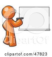 Royalty Free RF Clipart Illustration Of An Orange Design Mascot Man Writing On A White Board by Leo Blanchette