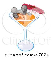 Royalty Free RF Clipart Illustration Of A Gray Design Mascot Couple Soaking In A Cocktail Glass With An Umbrella by Leo Blanchette