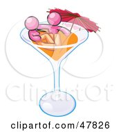 Royalty Free RF Clipart Illustration Of A Pink Design Mascot Couple Soaking In A Cocktail Glass With An Umbrella by Leo Blanchette