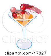 Red Design Mascot Couple Soaking In A Cocktail Glass With An Umbrella
